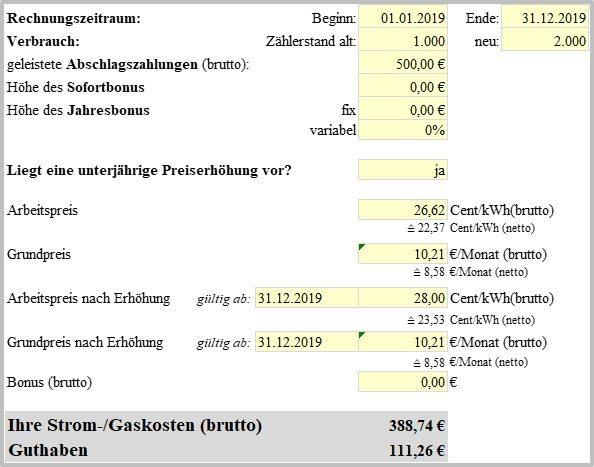 Stromrechnung falsch - Stromrechnung berechnen