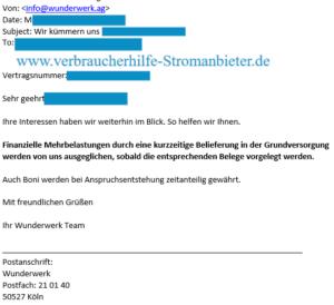Wunderwerk AG Schadensersatz Grundversorgung